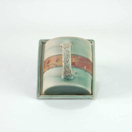 keramik-luchtmann-butterdose-gruen-griff-draufsicht-hannover